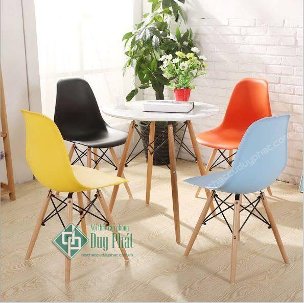 Ghế chân gỗ lưng nhựa mới 100%1