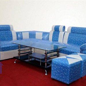 Thanh lý bộ bàn ghế sofa góc màu xanh cốm mới 99%1