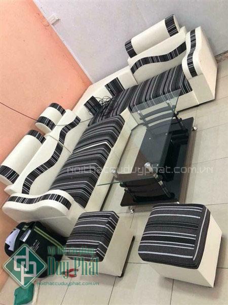 Thanh lý bộ sofa góc da pha nỉ kích thước 1m6x2m1 màu sọc đen