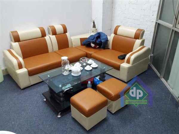 Thanh lý bộ sofa góc màu vàng chanh mới 100% giá thanh lý 2300k1