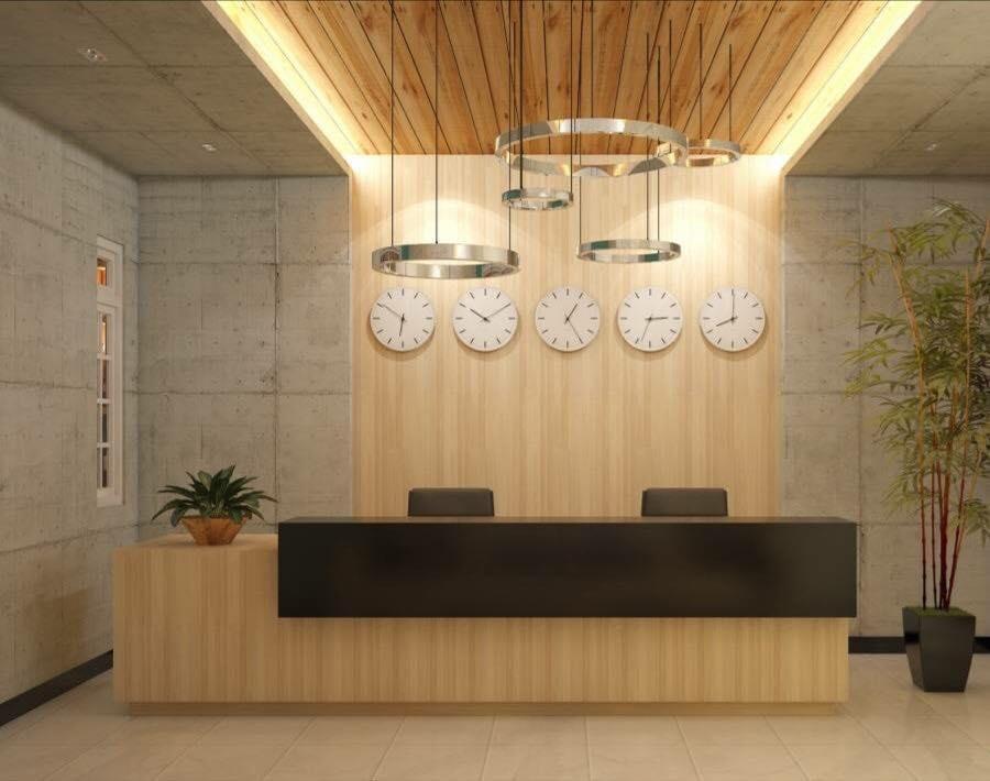 Quầy lễ tân chất liệu gỗ cao cấp
