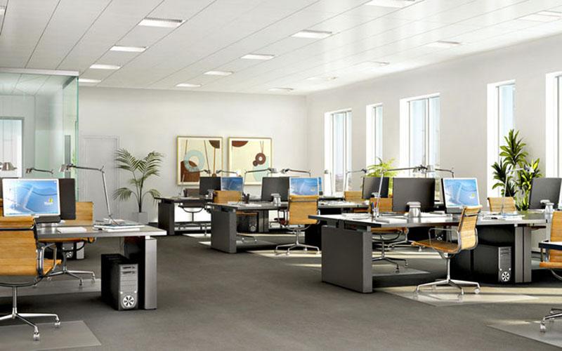 Thiết kế nội thất văn phòng mở với bàn làm việc