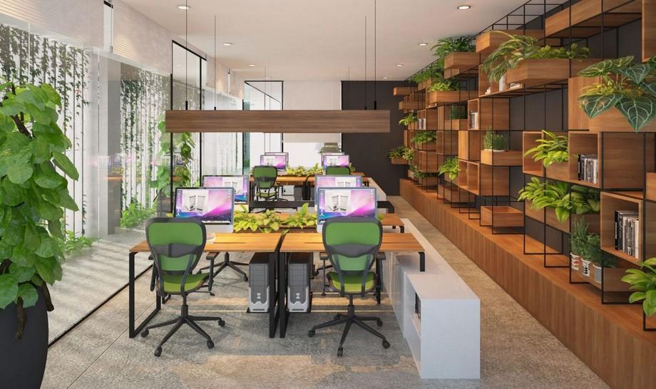Thiết kế nội thất văn phòng kết với cây xanh