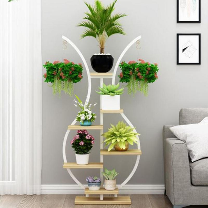 Kệ cây đẹp cho phòng khách hình bình hoa