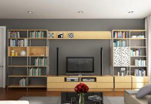 Kệ tivi kết hợp giá sách được thiết kế theo xu hướng hiện đại
