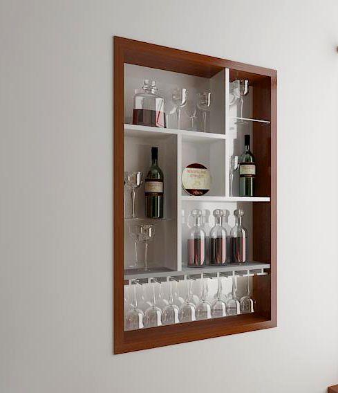 Tận dụng kệ trang trí âm tưởng làm tủ rượu
